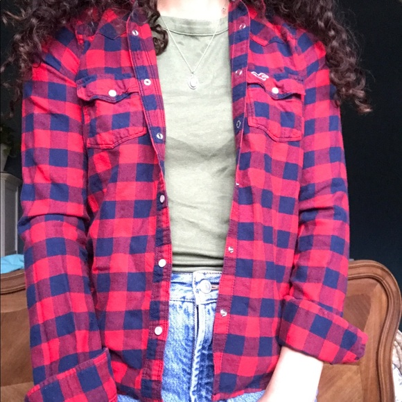 Hollister Tops - red and navy classic flannel
